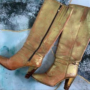 Shoes - Boho festival gold leather distress metallic boots